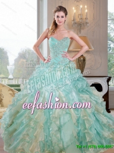 2015 Popular Sweetheart Dress for Quince with Beading and Ruffles