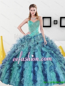 2015 Pretty Sweetheart Quinceanera Dresses with Appliques and Ruffles