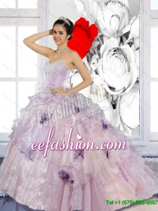 Beading and Appliques 2015 Custom Made Quinceanera Dresses with Brush Train