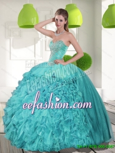 Beading and Ruffles Strapless Aqua Blue Quinceanera Gowns for 2015