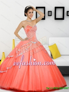 Beautiful Beading Sweetheart 2015 Quinceanera Dresses in Orange Red