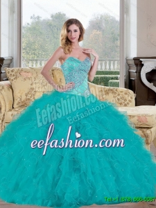 Custom Made 2015 Ball Gown Quinceanera Dress with Beading and Ruffles