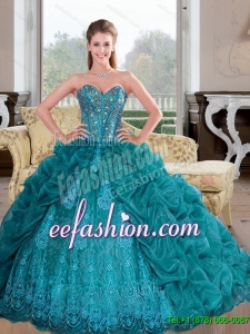 Custom Made 2015 Sweetheart Quinceanera Dresses with Beading and Pick Ups