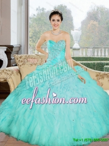 Custom Made Appliques and Ruffles Sweetheart Aqua Blue 2015 Quinceanera Dresses