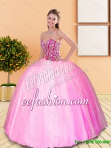 Custom Made Beading Sweetheart Quinceanera Dresses for 2015 Spring