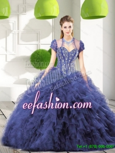 Custom Made Navy Blue Quinceanera Dresses with Beading and Ruffles for 2015