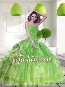 Custom Made Spring Green 2015 Quinceanera Dress with Beading and Ruffles