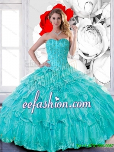 Custom Made Sweetheart 2015 Quinceanera Dresses with Beading and Ruffled Layers
