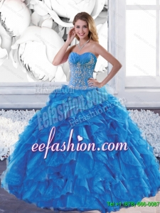 Custom Made Sweetheart Teal Quinceanera Dresses with Appliques and Ruffles
