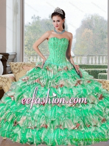 Discount Beading and Ruffled Layers Quinceanera Dresses for 2015