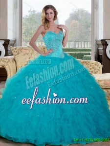 Discount Beading and Ruffles Sweetheart 2015 Quinceanera Dresses in Teal