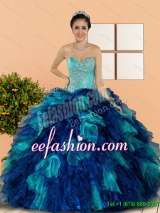 Discount Sweetheart Beading and Ruffles Quinceanera Dresses in Multi Color