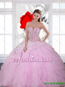 Exquisite Beading and Ruffles Sweetheart 2015 Quinceanera Dresses in Baby Pink