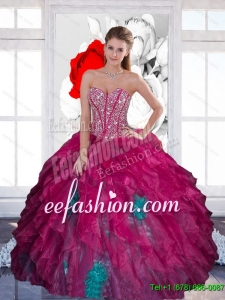 Exquisite Sweetheart Beading Multi Color 2015 Quinceanera Dress with Ruffles