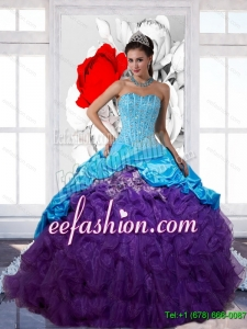 Fashion Beading and Ruffles 2015 Multi Color Quinceanera Gowns with Pick Ups