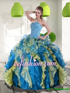 Fashion Multi Color Quinceanera Gowns with Beading and Ruffles for 2015