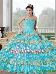Gorgeous Beading and Ruffled Layers Sweetheart Quinceanera Dresses for 2015