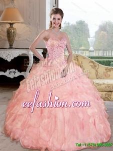 Gorgeous Beading and Ruffles Sweetheart Quinceanera Dresses for 2015