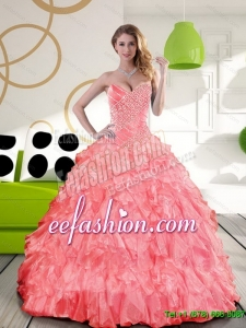 Gorgeous Sweetheart 2015 Quinceanera Dress with Beading and Ruffles