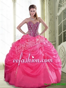 New Style Beading and Hand Made Flowers Quinceanera Dresses for 2015