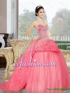 Popular Sweetheart 2015 Sweet 16 Dress with Beading and Ruffles