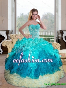 Popular Sweetheart Multi Color 2015 Quinceanera Gown with Appliques and Ruffles
