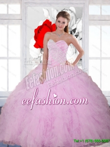 2015 New Style Beading and Ruffles Sweetheart Quinceanera Dresses in Baby Pink