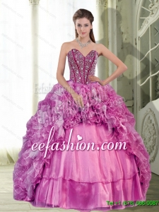 2015 New Style Sweetheart Beading and Ruffles Dress for Quinceanera