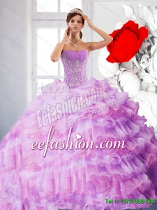 New Style Strapless Appliques and Ruffles 2015 Quinceanera Dress in Lilac