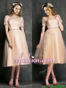 Beautiful Bateau Short Sleeves Dama Dress with Sashes and Lace
