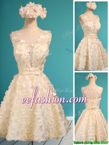 Best Scoop Champagne Short Dama Dress with Appliques and Belt