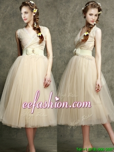 Cheap Champagne V Neck Bridesmaid Dress with Belt and Bowknot