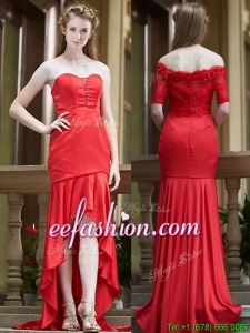 Cheap Column High Low Red Dama Dress with Brush Train