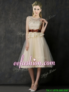 Classical See Through Scoop Dama Dress with Bowknot and Lace