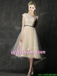 Elegant One Shoulder Sashes and Appliques Dama Dress in Champagne