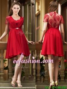 Elegant See Through Back Red Short Dama Dress with Short Sleeves
