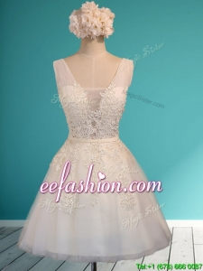 Gorgeous White Deep V Neckline Bridesmaid Dress with Appliques and Belt