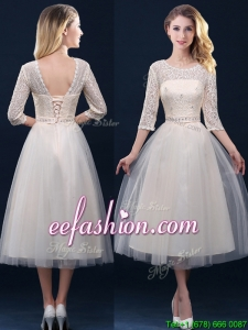 Hot Sale Laced and Applique Champagne Bridesmaid Dress in Tea Length