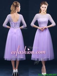 Latest Half Sleeves Tea Length Laced Dama Dress in Lavender