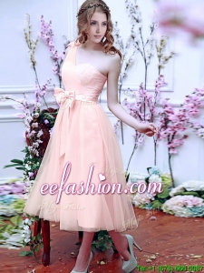 Luxurious One Shoulder Dama Dress with Bowknot and Hand Made Flowers