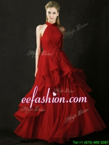 Modest A Line Halter Top Tulle Prom Dress with Appliques