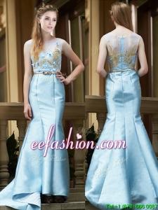 Modest Mermaid Applique Brush Train Prom Dress in Light Blue