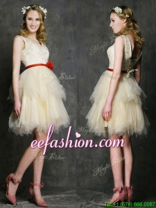 Most Popular V Neck Short Dama Dress with Belt and Ruffled Layers