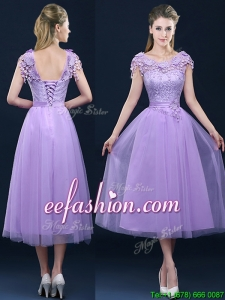 New Style Cap Sleeves Lavender Prom Dress with Lace and Appliques