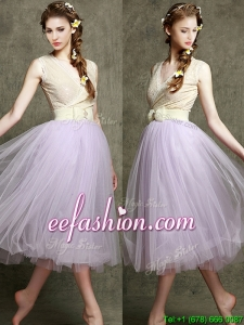 New Style Lavender V Neck Dama Dress with Bowknot and Belt
