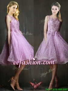 Popular See Through Beaded and Applique Dama Dress in Lavender