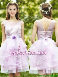 See Through Scoop Short Dama Dress with Sashes and Ruffles