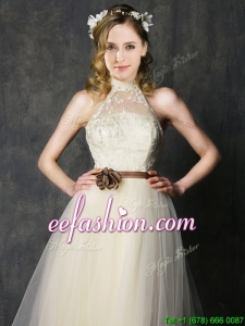 Sweet High Neck Champagne Dama Dress with Hand Made Flowers and Lace