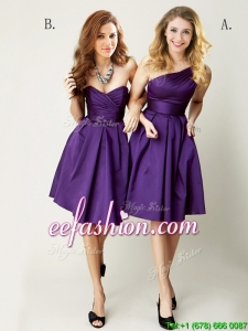 Top Selling Mini Length Ruching Dama Dress in Purple