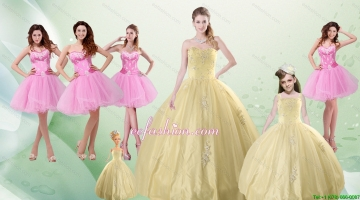2015 Beautiful Sweetheart Champagne Quinceanera Dress and Pink Dama Dresses and Straps Ball Gown Little Girl Dress